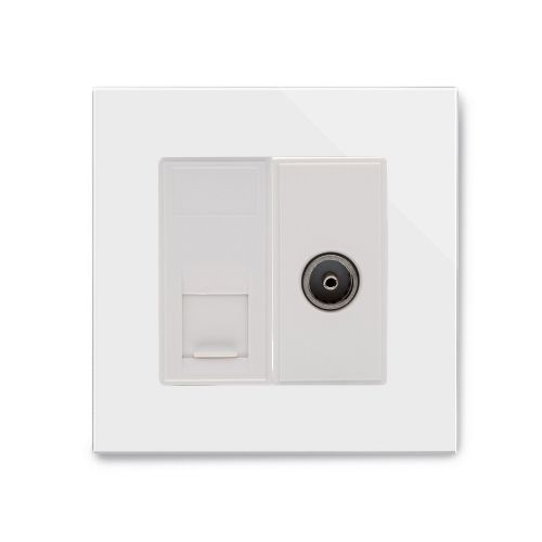 RetroTouch Cat 6/TV Socket White Glass PG 04238